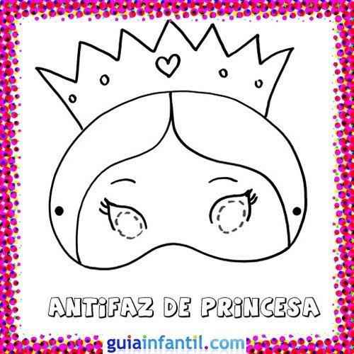Antifaz de princesa. Dibujos de Carnaval para niños