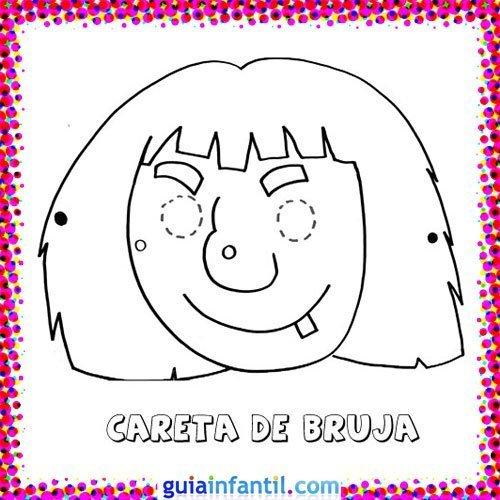 Careta de bruja. Dibujos de Carnaval para niños