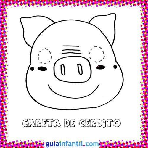 Careta de cerdo. Dibujos de Carnaval para niños