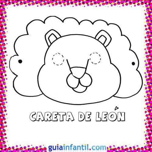 Careta de león. Dibujos de Carnaval para niños