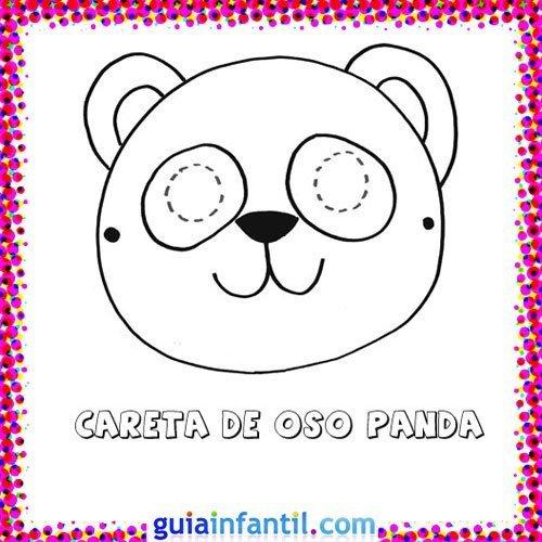 Careta de oso panda. Dibujos de Carnaval para niños