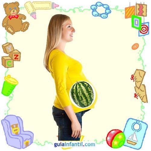 Tu bebé en con frutas y verduras. Noveno mes de embarazo