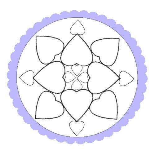 Dibujo de un mandala de corazones para pinar