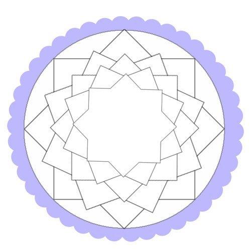 Dibujo de un mandala de estrellas para pintar