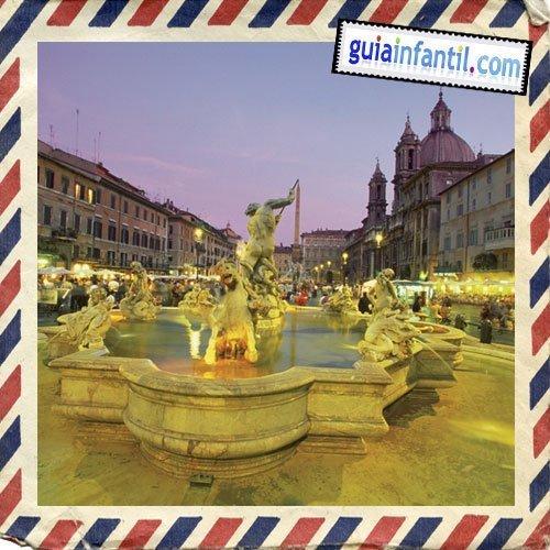 Plaza Narvona. Viajar a Roma con los niños