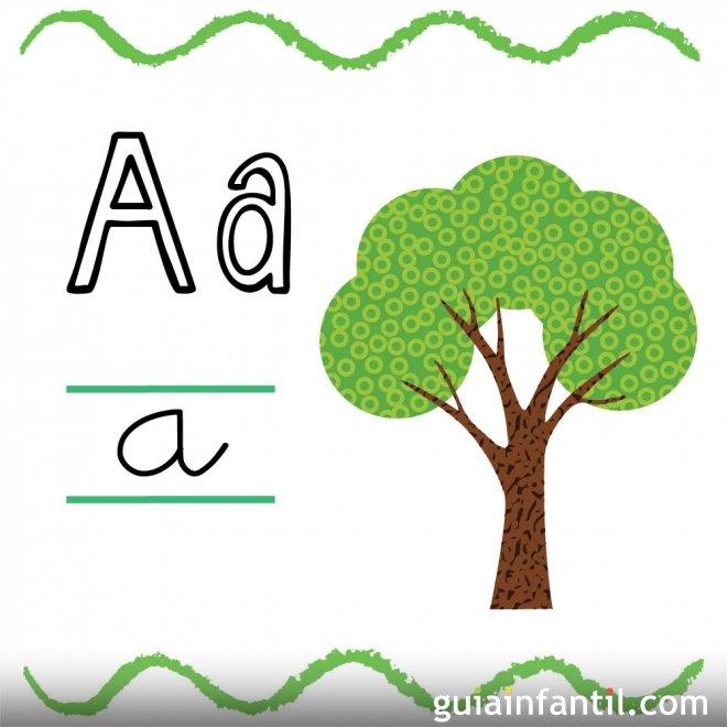 La letra A en mayúscula y minúscula. Árbol