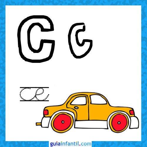 Letra C. Fichas con el abecedario para niños