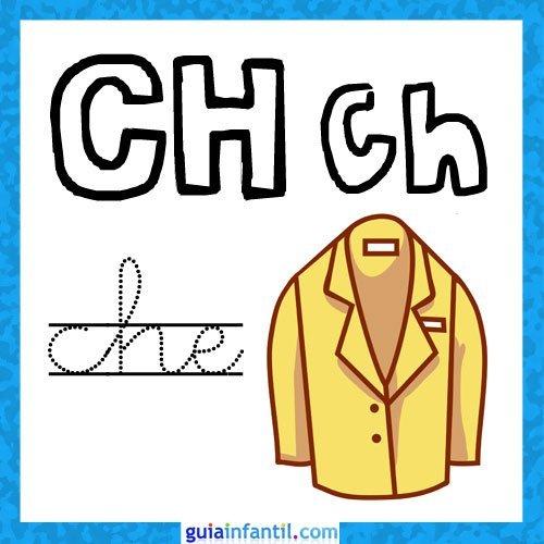 Letra CH. Fichas con el abecedario para niños