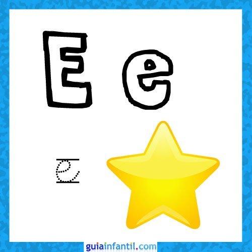 Letra E. Fichas con el abecedario para niños