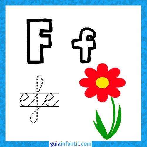 Letra F. Fichas con el abecedario para niños