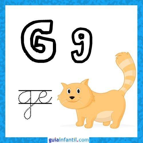 Letra G. Fichas con el abecedario para niños