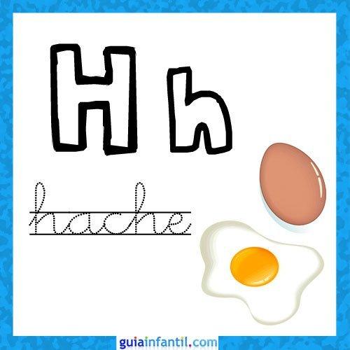 Letra H. Fichas con el abecedario para niños