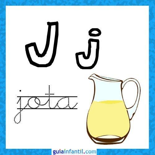 Letra J. Fichas con el abecedario para niños