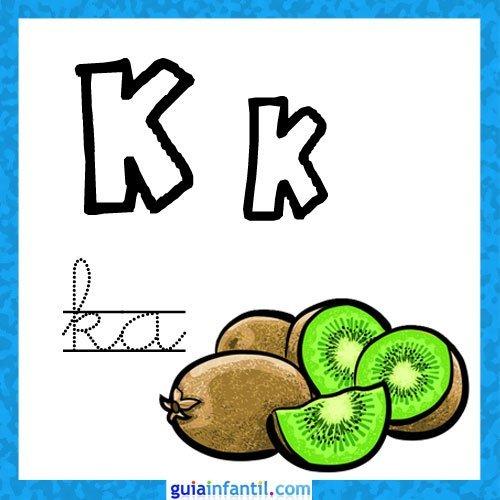 Letra K. Fichas con el abecedario para niños