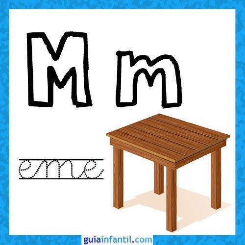 Letra M. Fichas con el abecedario para niños
