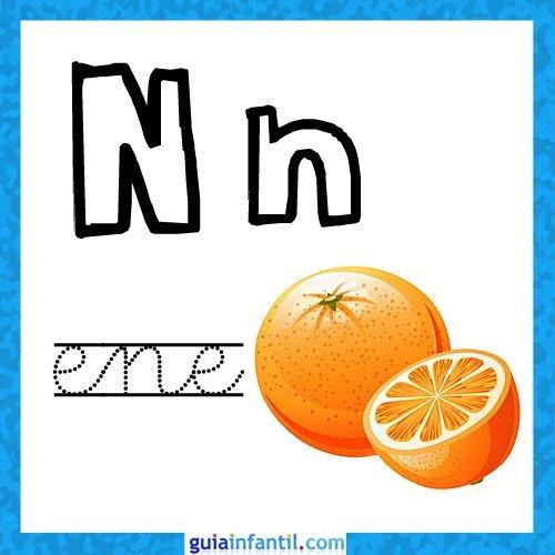 Letra N. Fichas con el abecedario para niños