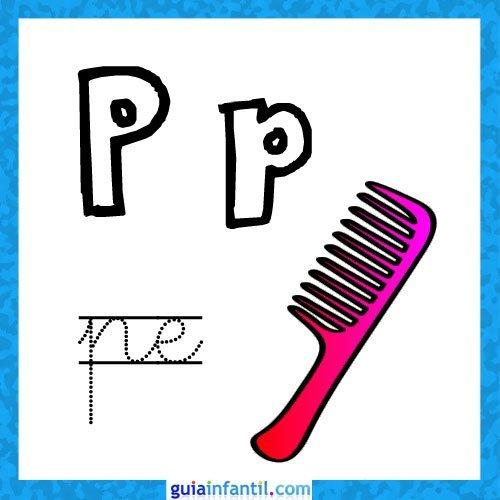 letra p fichas con el abecedario para niños