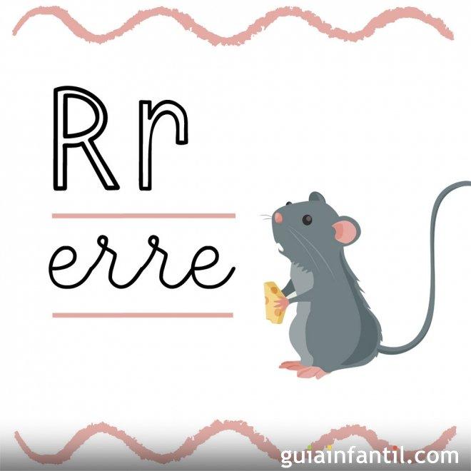 Letra R. Fichas con el abecedario para niños