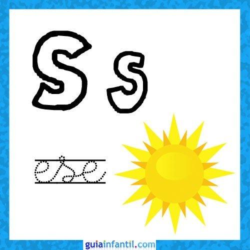 Letra S. Fichas con el abecedario para niños