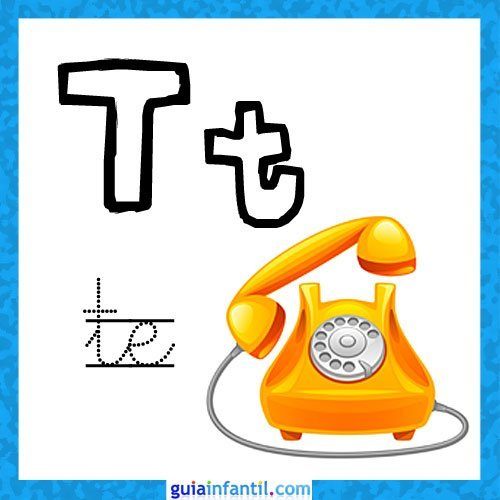 Letra T. Fichas con el abecedario para niños
