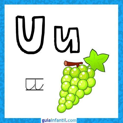 Letra U. Fichas con el abecedario para niños