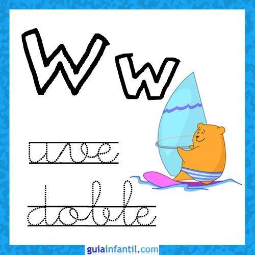Letra W. Fichas con el abecedario para niños