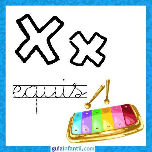 Letra X. Fichas con el abecedario para niños