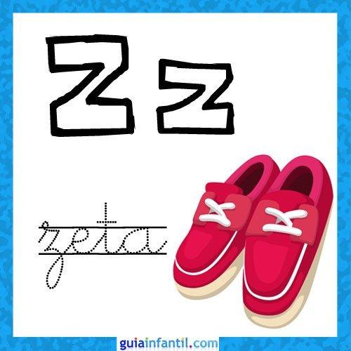 Letra Z. Fichas con el abecedario para niños