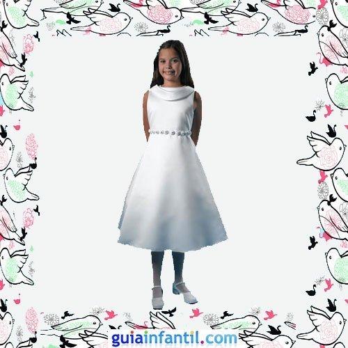 Vestidos Primera Comunión niñas. Modelo corto de raso