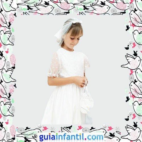 Vestidos Primera Comunión niñas. Modelo clásico de jaretas con bodoques