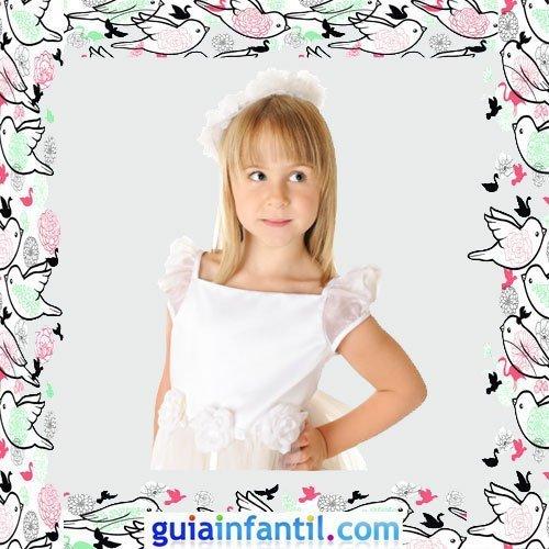 Vestidos Primera Comunión niñas. Modelo con rosas