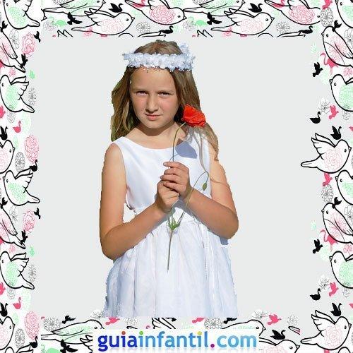 Vestidos Primera Comunión niñas. Modelo de tirantes recto