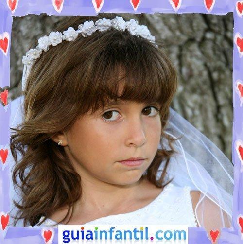 Peinados de Primera Comunión para niñas. Melena con corona de flores