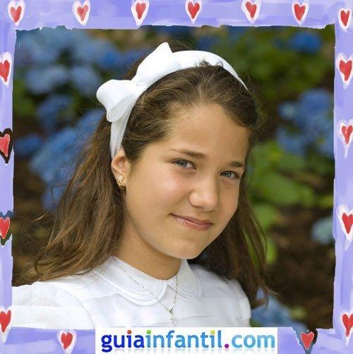 Peinados de Primera Comunión para niñas. Diadema blanca