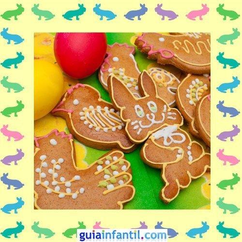 Galletas de Pascua decoradas. Conejos y gallos