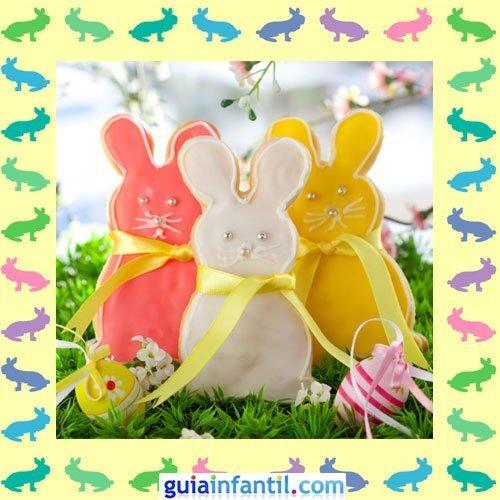 Galletas de Pascua decoradas. Conejos con lazos