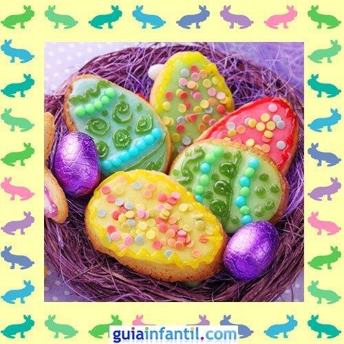 Galletas de Pascua decoradas. Huevos de colores