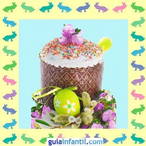 Muffins de Pascua decorados. Huevos y flores