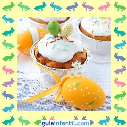 Muffins de Pascua decorados. Crema y naranja