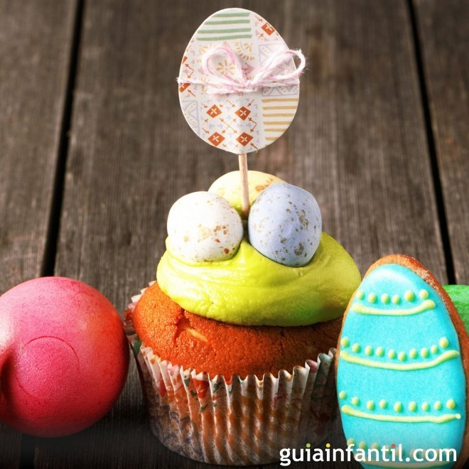 Muffins de pascua decorados huevos decorativos - Huevos decorados de pascua ...