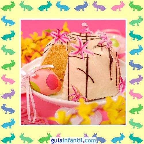 Tartas de Pascua decoradas. Pastel de fresa