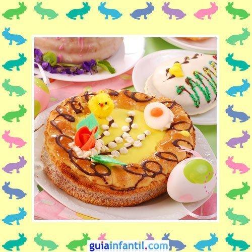 Tartas de Pascua decoradas. Pastel de caramelo
