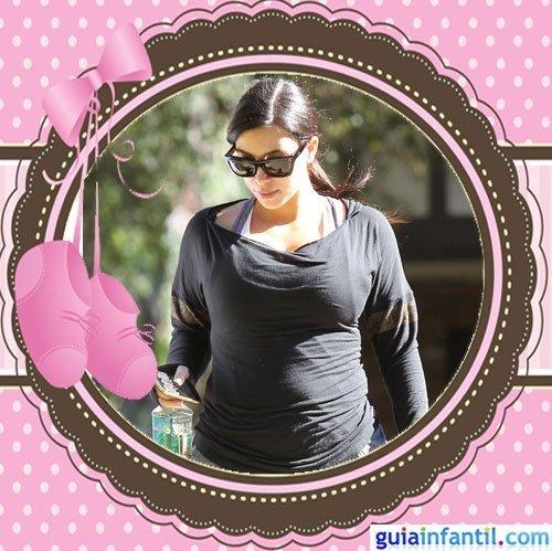 La celebrity Kim Kardashian embarazada de varios meses