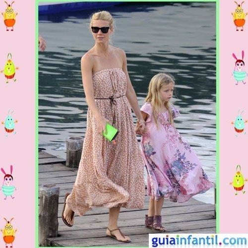 La actriz Gwyneth Paltrow y su hija Apple con vestido de verano étnico