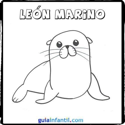 Dibujo de un león marino para pintar con los niños