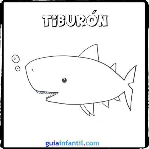 Dibujos de un tiburón para pintar con los niños