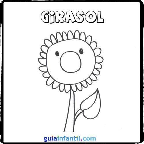Dibujo de un girasol para pintar con los nios  Dibujos de flores