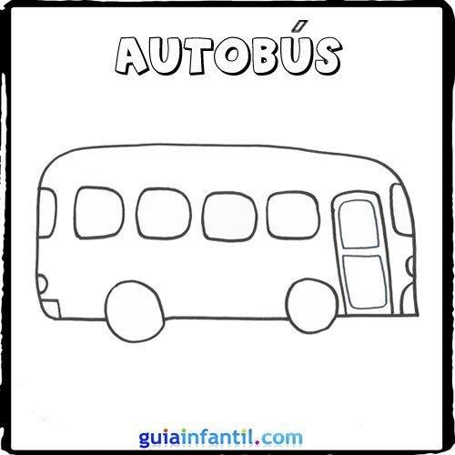 Dibujo de un autobús para pintar con los niños - Dibujos de medios ...