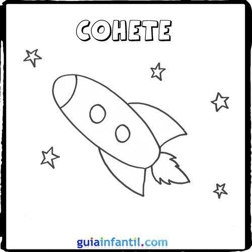 Dibujo de un cohete para pintar con los niños