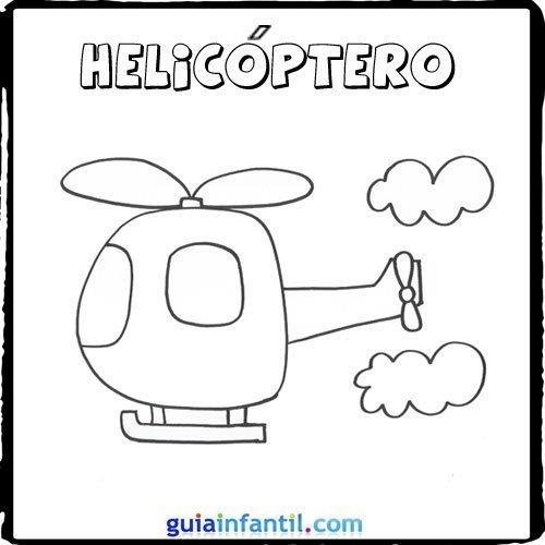 Dibujo de un helicóptero para pintar con los niños